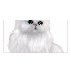 White Persian Cat Clipart Satin Shawl by AlteredStates