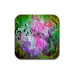 Abstract Music 2 Rubber Square Coaster (4 Pack)