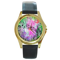 Abstract Music 2 Round Gold Metal Watches