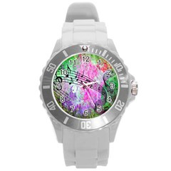 Abstract Music 2 Round Plastic Sport Watch (l)