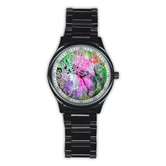 Abstract Music 2 Stainless Steel Round Watches
