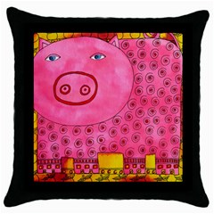 Patterned Pig Throw Pillow Cases (black) by julienicholls