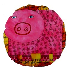 Patterned Pig Large 18  Premium Flano Round Cushions by julienicholls