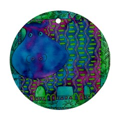 Patterned Hippo Round Ornament (two Sides)  by julienicholls
