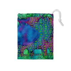 Patterned Hippo Drawstring Pouches (medium)  by julienicholls