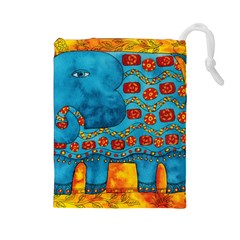 Patterned Elephant Drawstring Pouches (large)  by julienicholls