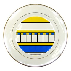 Stripes And Squares Porcelain Plate by LalyLauraFLM