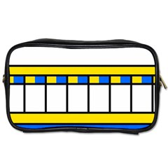 Stripes And Squares Toiletries Bag (two Sides) by LalyLauraFLM