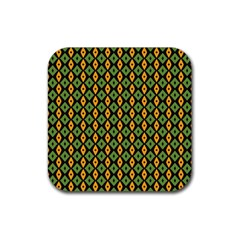 Green Yellow Rhombus Pattern Rubber Square Coaster (4 Pack) by LalyLauraFLM