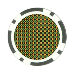 Green Yellow Rhombus Pattern Poker Chip Card Guard by LalyLauraFLM