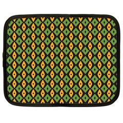Green Yellow Rhombus Pattern Netbook Case (large) by LalyLauraFLM