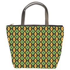 Green Yellow Rhombus Pattern Bucket Bag by LalyLauraFLM