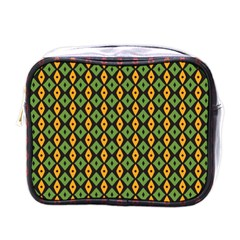 Green Yellow Rhombus Pattern Mini Toiletries Bag (one Side) by LalyLauraFLM
