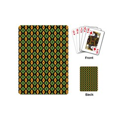 Green Yellow Rhombus Pattern Playing Cards (mini) by LalyLauraFLM