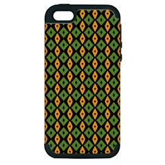 Green Yellow Rhombus Pattern Apple Iphone 5 Hardshell Case (pc+silicone) by LalyLauraFLM