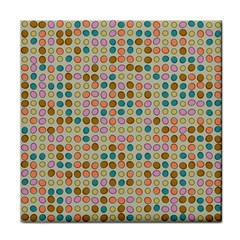 Retro Dots Pattern Tile Coaster by LalyLauraFLM