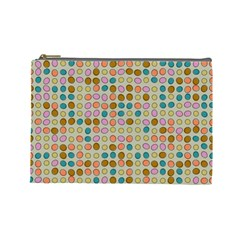 Retro Dots Pattern Cosmetic Bag (large) by LalyLauraFLM