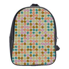 Retro Dots Pattern School Bag (xl) by LalyLauraFLM