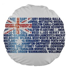 Australia Place Names Flag Large 18  Premium Flano Round Cushions by theimagezone