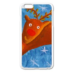 Rudolph The Reindeer Apple iPhone 6 Plus Enamel White Case by julienicholls