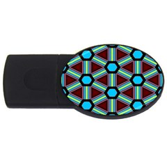 Stripes And Hexagon Pattern Usb Flash Drive Oval (2 Gb) by LalyLauraFLM