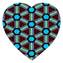 Stripes And Hexagon Pattern Jigsaw Puzzle (heart) by LalyLauraFLM