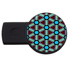 Stripes And Hexagon Pattern Usb Flash Drive Round (4 Gb) by LalyLauraFLM