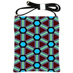 Stripes And Hexagon Pattern Shoulder Sling Bag by LalyLauraFLM