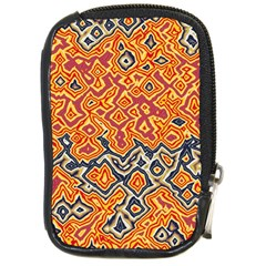 Red Blue Yellow Chaos Compact Camera Leather Case by LalyLauraFLM