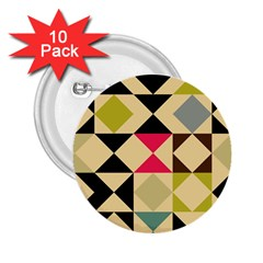 Rhombus And Triangles Pattern 2 25  Button (10 Pack) by LalyLauraFLM