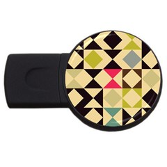 Rhombus And Triangles Pattern Usb Flash Drive Round (4 Gb) by LalyLauraFLM