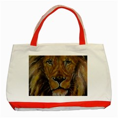 Cecil The African Lion Classic Tote Bag (red)  by timelessartoncanvas