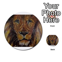 Cecil The African Lion Multi Purpose Cards (round)  by timelessartoncanvas