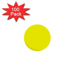 Bright Fluorescent Yellow Neon 1  Mini Buttons (100 pack)  by PodArtist