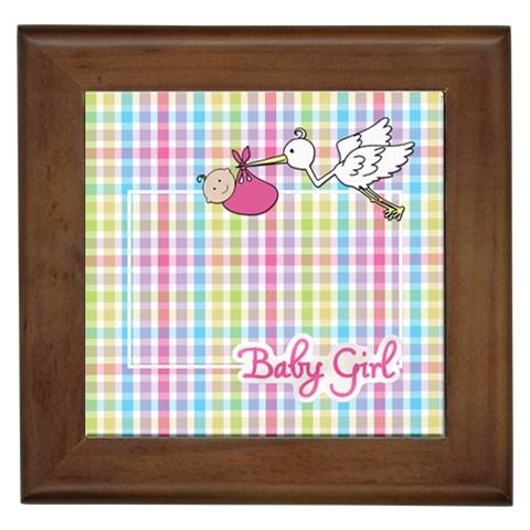Baby Girl Framed Tile By Angela Anos   Framed Tile   Vrrws21vil1t   Www Artscow Com Front