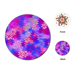 Pink and Purple Marble Waves Playing Cards (Round)  by KirstenStar
