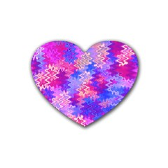 Pink And Purple Marble Waves Rubber Coaster (heart)  by KirstenStar