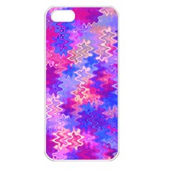 Pink And Purple Marble Waves Apple Iphone 5 Seamless Case (white) by KirstenStar