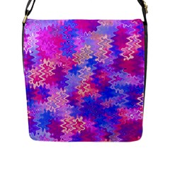 Pink And Purple Marble Waves Flap Messenger Bag (l)  by KirstenStar