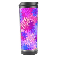 Pink And Purple Marble Waves Travel Tumblers by KirstenStar