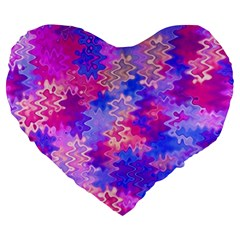 Pink And Purple Marble Waves Large 19  Premium Flano Heart Shape Cushions by KirstenStar
