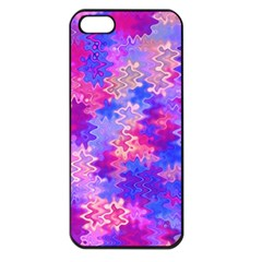 Pink And Purple Marble Waves Apple Iphone 5 Seamless Case (black) by KirstenStar