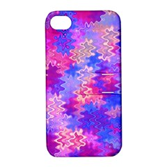 Pink And Purple Marble Waves Apple Iphone 4/4s Hardshell Case With Stand by KirstenStar