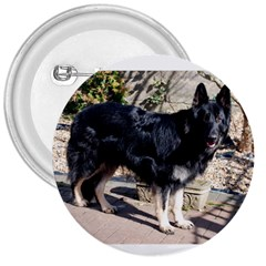 Black German Shepherd Full 3  Buttons by TailWags