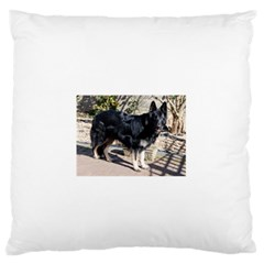 Black German Shepherd Full Large Flano Cushion Cases (One Side)  by TailWags