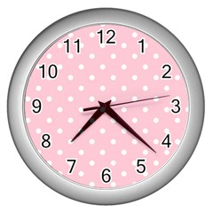 Pink Polka Dots Wall Clocks (silver)  by LokisStuffnMore