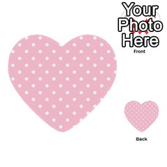 Pink Polka Dots Multi Purpose Cards (heart)