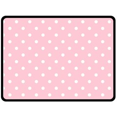 Pink Polka Dots Double Sided Fleece Blanket (large)  by LokisStuffnMore