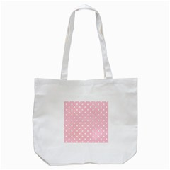 Pink Polka Dots Tote Bag (white)  by LokisStuffnMore