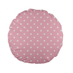 Pink Polka Dots Standard 15  Premium Flano Round Cushions by LokisStuffnMore